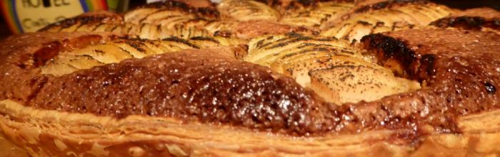 A baked pear tart fresh from the oven