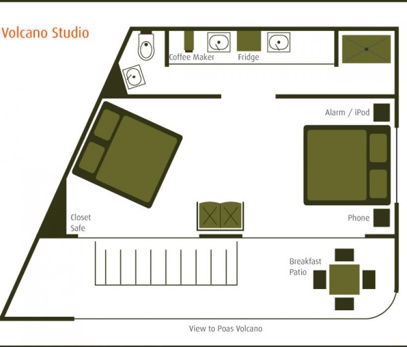 Volcano Studio layout (2 queen beds)