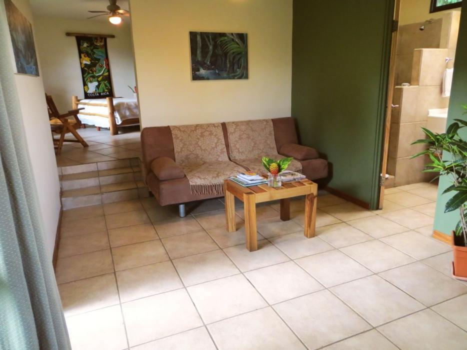 Living room of the Rain Forest Casita (also extra futon)
