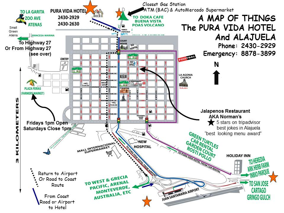 Map of Alajuela with Pura Vida Hotel